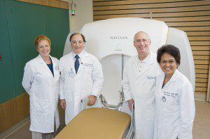 The Gamma Knife Team today from left to right: Jeraldine Lesser, Dr. Sisti, Dr. Isaacson and Nenita Magpantay-Nadera