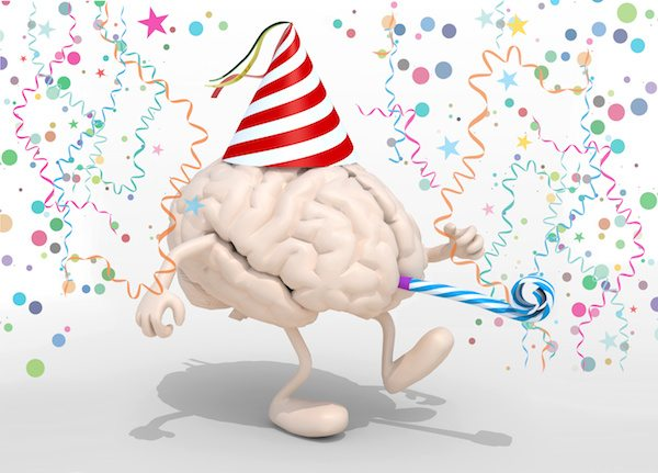human brain with arms, legs, party cap, blowers and carnival decorations, 3d illustration